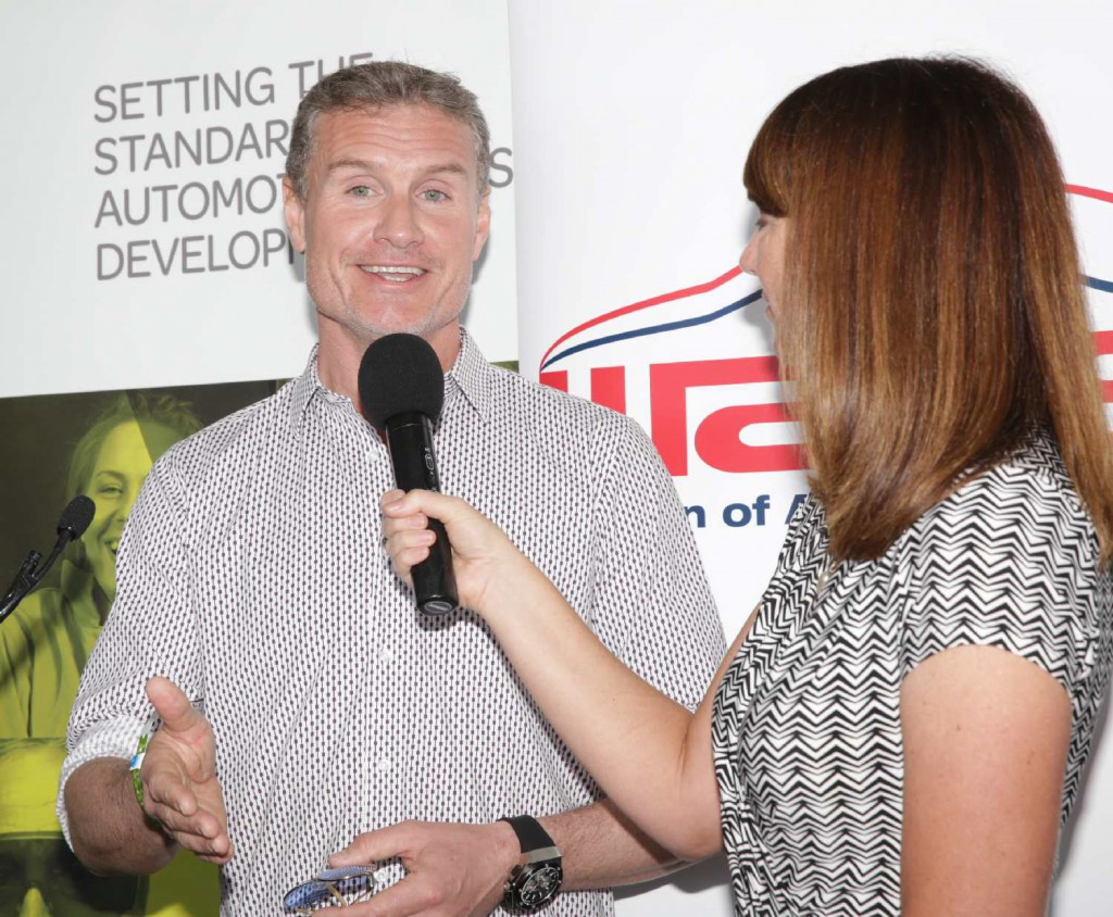 Kylie King interviewing David Coulthard at Australian Grand Prix March 2014