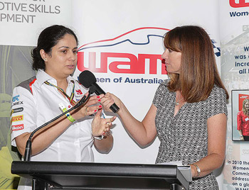 Kylie interviewing at the Australian Grand Prix 2014