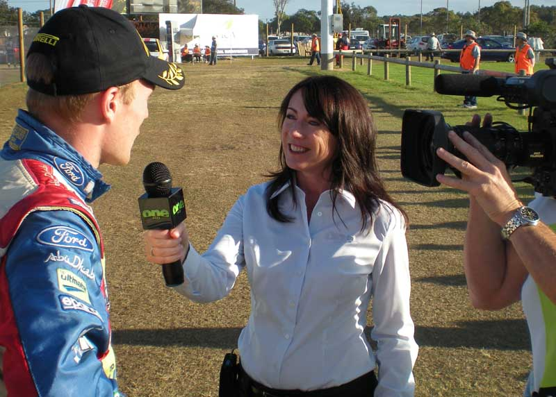 Kylie interviewing at a Rally Australia Stage for One HD
